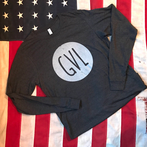 GVL in circle - long sleeve- dark charcoal heather