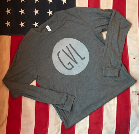 GVL in circle - long sleeve- medium heather gray
