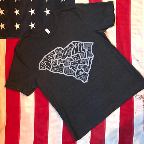 Regions of SC tee - dark charcoal heather