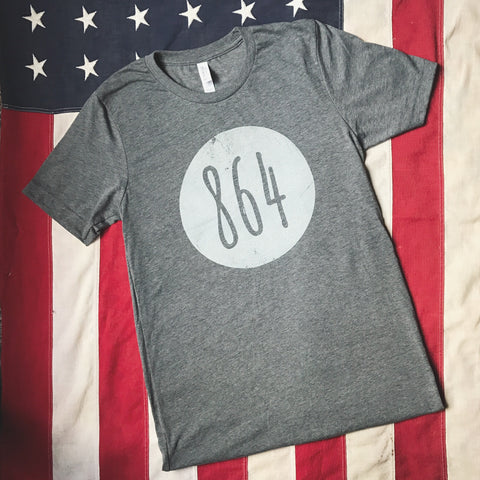 Vintage 864 area code in circle- short sleeve