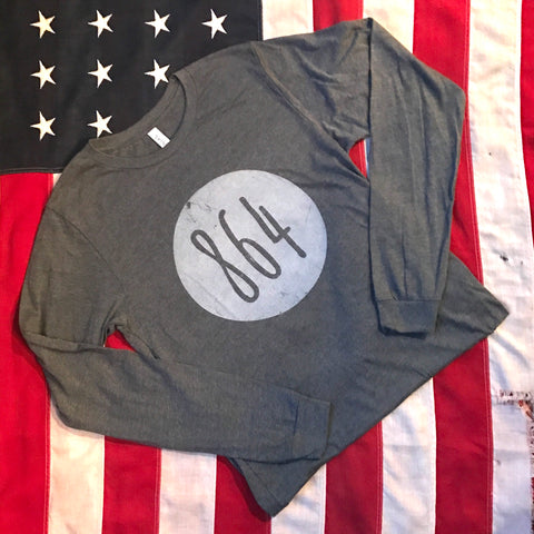 864 in circle tee - long sleeve- heather gray