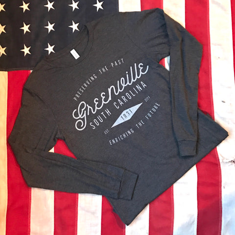 Greenville est. 1831 tee - long sleeve- dark charcoal heather