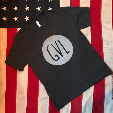 GVL in circle- dark charcoal heather
