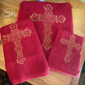 Cross Towels ~ Red