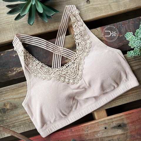 Boho Lace Bralette ~ Taupe Padded
