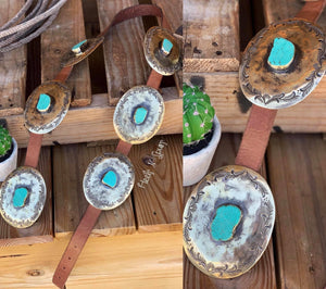 Cali Turquoise Slab Authentic Concho Belt