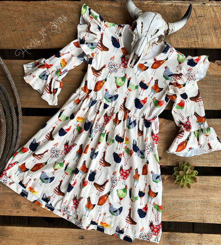 Ruffled Sleeve Chicken Dress