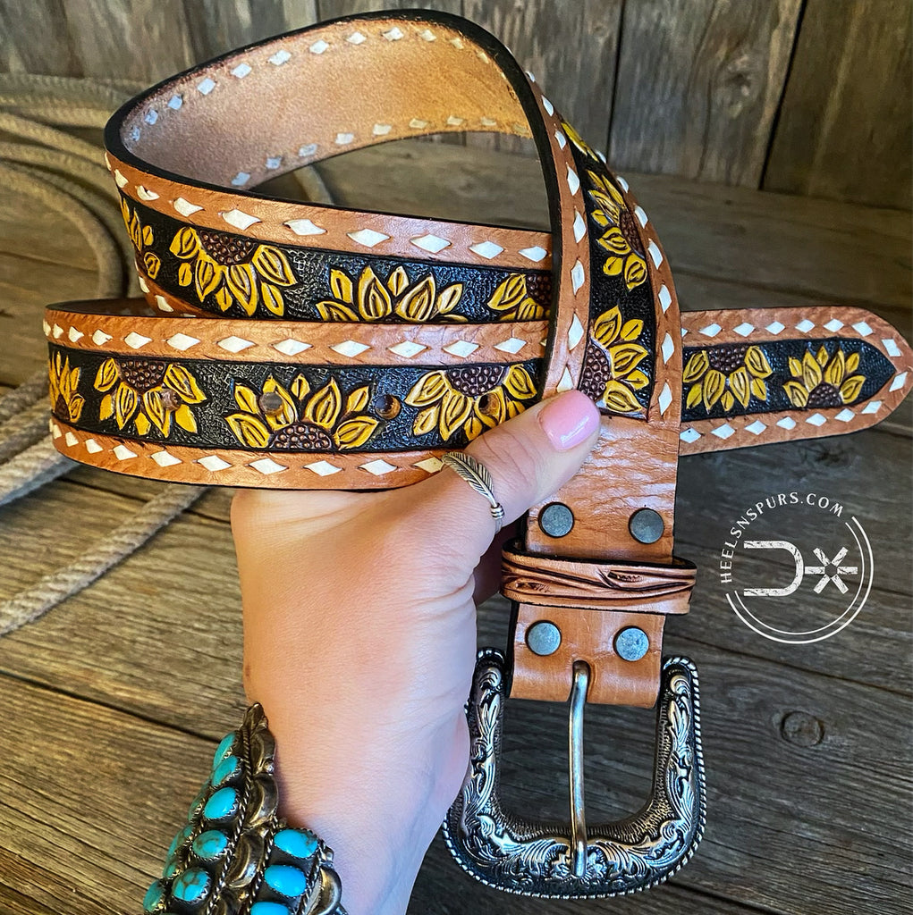 Sunflower Tooled Belt