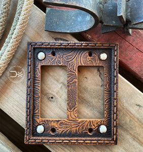 Tooled Leather Double Rocker Switch