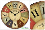 "12"" Vintage France Paris Colorful French Country Tuscan Style Paris Wood Wall Clock - GiftMo"