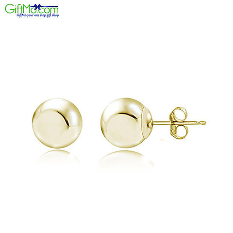 Beautiful 14K Yellow Gold Ball Stud Earrings, 3mm - GiftMo