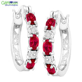 Stunning 2 ct Created Ruby Hoop Earrings with Diamonds