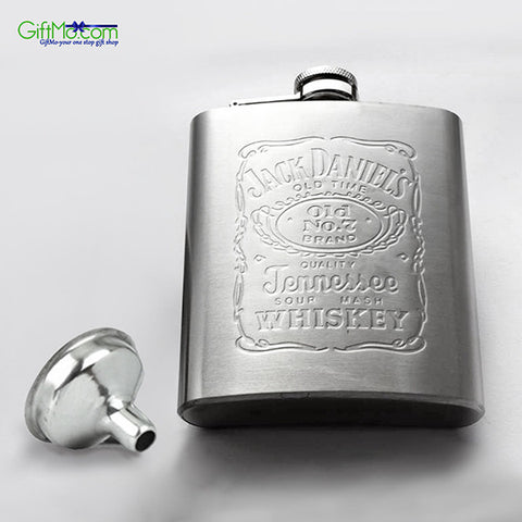 7 oz Stainless Steel Hip Liquor Whiskey Alcohol Pocket Flask with Portable Funnel - GiftMo