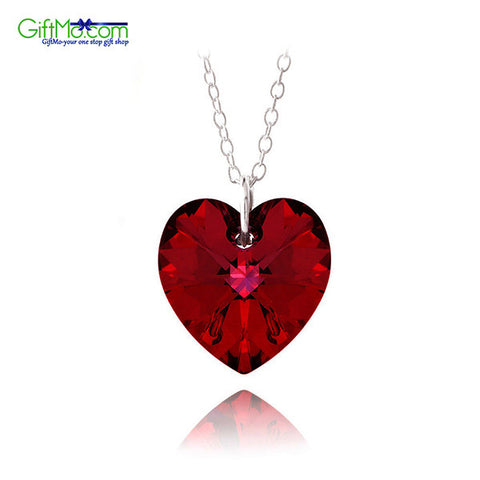 "925 Silver Ruby Red Swarovski Elements Heart Necklace 18"" - GiftMo"