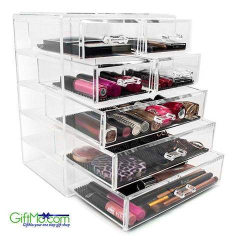 Acrylic Cosmetics Makeup and Jewelry Storage Case Display- 4 Large and 2 Small Drawers Space - GiftMo