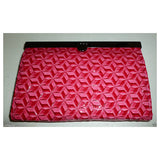 All-In-One Dark Pink Floral Print Texture Faux Leather Clutch Wallet