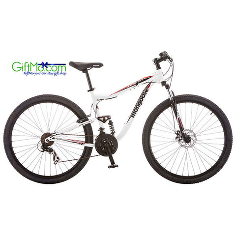 Amazing 29 in Mongoose Men's Dual Suspension Mountain Bike Ledge 3.5, White