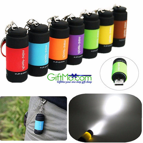 Amazing Rechargeable USB LED Flashlight Lamp Mini Torch Pocket Keychain Waterproof - GiftMo