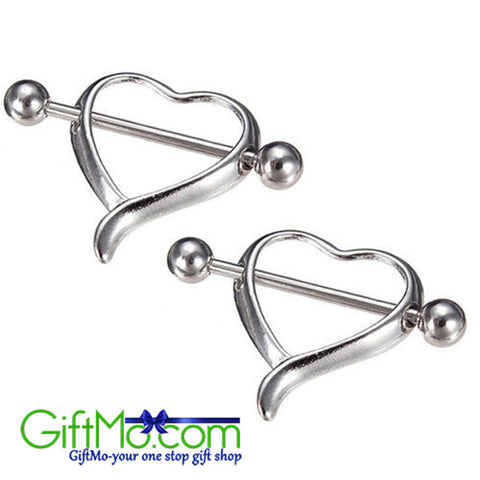 Amazing Surgical Steel Love Heart Nipple Shield Bar Ring Body Piercing - GiftMo