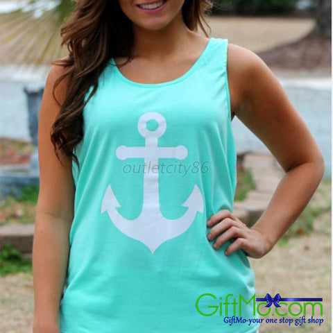 Summery Anchor Print Tank Top