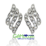 Angel Wings Swarovski Elements Crystal White Gold Plated Stud Earrings - GiftMo