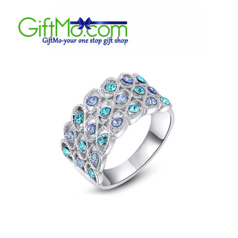Beautiful 18k White Gold Blue Austrian Crystal Ring - GiftMo