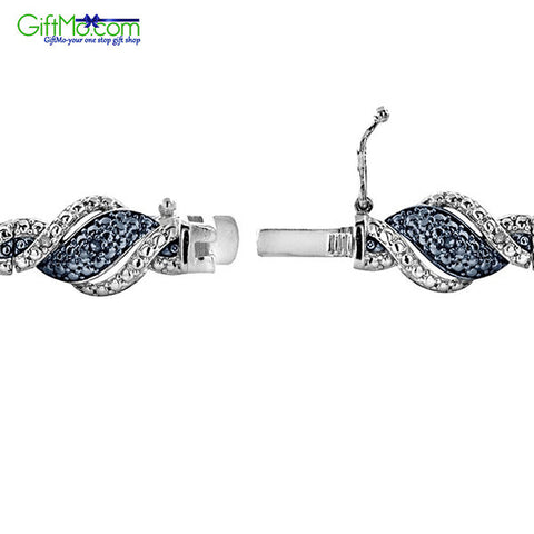 Beautiful 1/4 Ct Blue & White Diamond Twist Bracelet in Brass - GiftMo