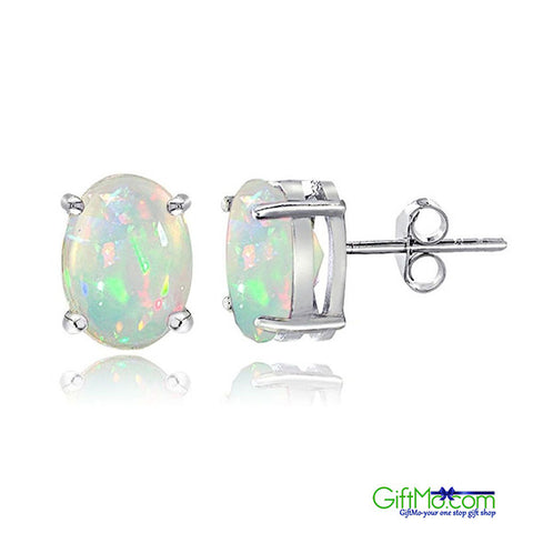 Beautiful Sterling Silver 0.50ct Ethiopian Opal 6x4 Oval Stud Earrings - GiftMo