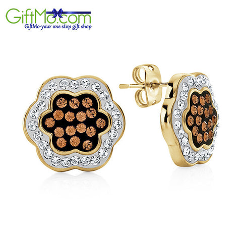 Beautiful Brown & White Crystal Flower Earrings In Gold Over Bronze - GiftMo