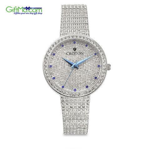 Beautiful Croton Women's Balliamo Pave Crystal Blue Display Watch - GiftMo