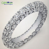 Beautiful Czech Drilling 3-Row Eternity Ring in White Gold - GiftMo