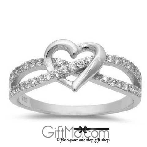 Beautiful Eye Catching  Infinity Heart With White CZ Stones Ring