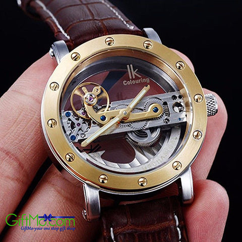 Beautiful IK Colouring Tourbillon Skeleton Steampunk Bridge Mechanical Watch