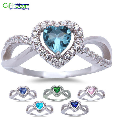 Beautiful Infinity HEART Aqua, Sapphire, Blue-Pink topaz, Emerald & Tanzanite Silver Ring