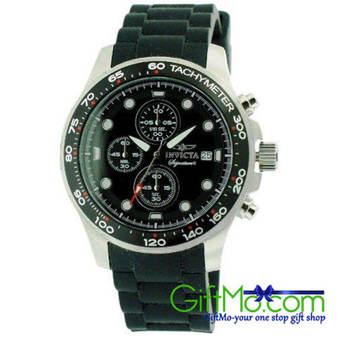 Beautiful Invicta Signature II Chronograph Black Dial Black Rubber Strap Mens Watch