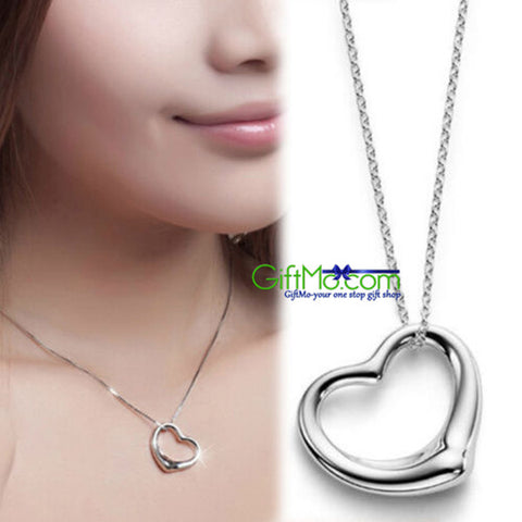 Beautiful Open Heart Pendant & Chain Necklace 925 Sterling Silver Plated