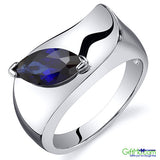 Beautiful Oravo 1.25 Ct Marquise Cut Blue Sapphire Ring in Rhodium-Plated Sterling Silver - GiftMo