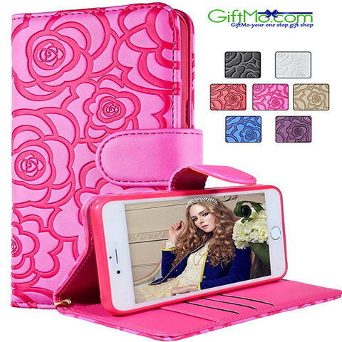 Elegant Rose Magnetic Wallet  Leather Case FLIP Card Slot For iPhone - GiftMo