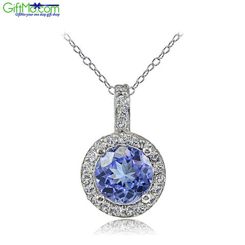 Beautiful Sterling Silver 0.75ct Tanzanite & White Topaz Round Drop Necklace - GiftMo