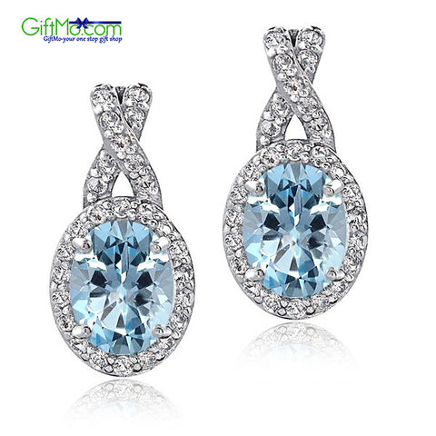 Beautiful Sterling Silver 4ct Blue & White Topaz X and Oval Drop Earrings - GiftMo