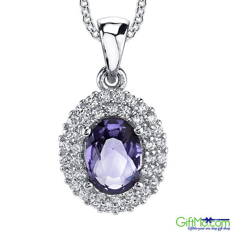 Beautiful Sterling Silver Cubic Zirconia Oval Tanzanite Pendant Necklace with Chain - GiftMo