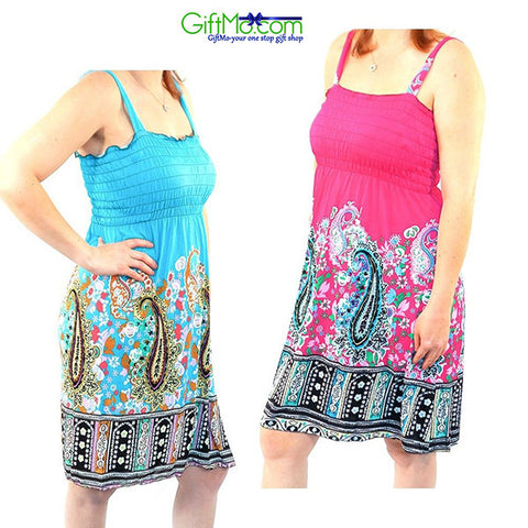 Beautiful Women's Paisley Pattern Sundresses by RC Collection-Blue & Pink 2 Pack - GiftMo