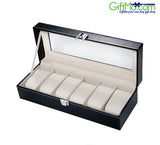 Beautiful Black Leather 6-Slot Glass Top Leather Watch Box - GiftMo
