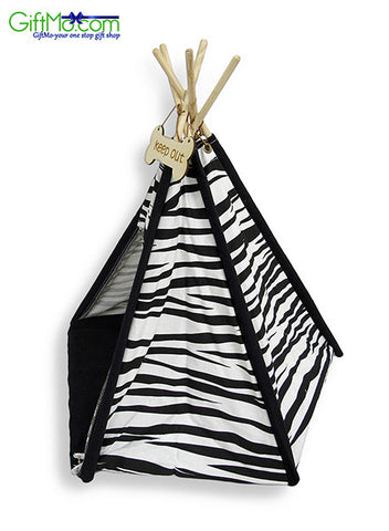 "Love Your Pets Black and White Zebra Print Pet Teepee 26"" X 24"" - GiftMo"