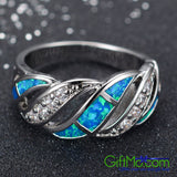 Opal Blue Ring Size 6-9 Band Crystal Zircon Women's 10Kt White Gold Filled Gift - GiftMo