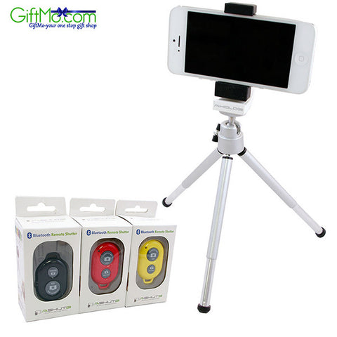 Best Bluetooth Camera Remote Control Self-timer + Tripod Holder For iPhone 6s Samsung - GiftMo