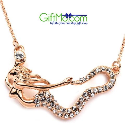 Brilliant Sparkle 18K Rose Gold Crystal Mermaid Pendant Fashion Necklace - GiftMo
