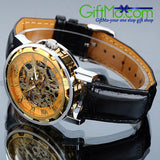 Classic Men's Gold Dial Skeleton Black Leather Mechanical Sport Army Wrist Watch - GiftMo