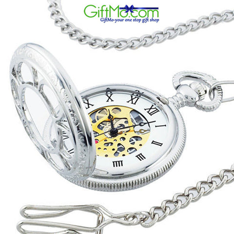 Collectible Silver Kansas City Railroad Pocket Watch - As Seen on TV - GiftMo
