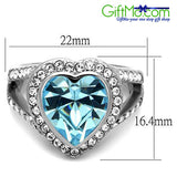 Dazzling Silver Stainless Steel Aquamarine Heart Crystal Love Ring - GiftMo